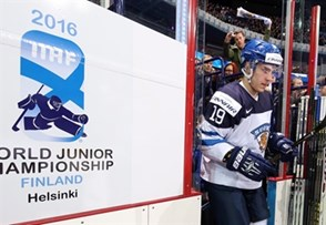 HELSINKI, FINLAND - DECEMBER 28: Finland's Aleksi Saarela #19 takes to the ice for preliminary round action against Russia at the 2016 IIHF World Junior Championship. (Photo by Andre Ringuette/HHOF-IIHF Images)